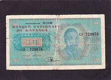 Katanga 20 Fr 1960 P-6a   VG