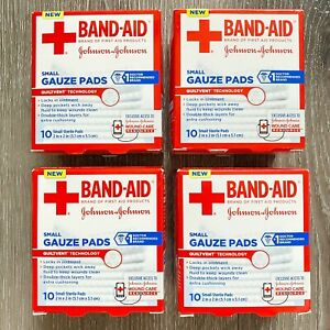 (4) Band Aid Small Gauze Pads Sterile 2 in x 2 in, 10 ct New