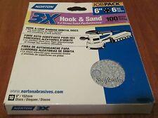 """Norton Hook & Sand 6"""" 6-Hole Hook & Loop Sanding Discs - 100 Grit 10-Pack"""