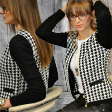 AU Womens Houndstooth Suit Blazer Zipper OL Long Sleeve Jacket Coat Outwear Tops