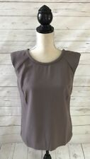 VIVIENNE TAM Taupe Brown Sleeveless Blouse V Open Back~Small~NWT $58