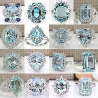 Fashion Women 925 Sterling Silver Aquamarine Gemstone Wedding Ring Size 6-10 UK