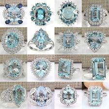 925 Sterling Silver Aquamarine Rings Wedding Engagement Wonderful Jewelry #6-10