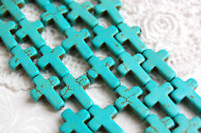 1 Strand 24 beads Small Stone Cross Beads in HOT PINK how0136
