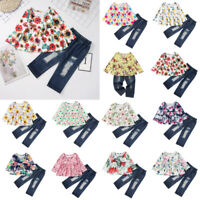 2pcs Sweet Baby Girls Clothes Set Long Sleeve Floral Chic Autumn Tops+Pants Lot