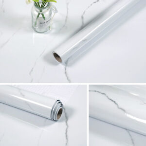 White Marble Wallpaper Self Adhesive Wall Sticker Cabinet Wrap Kitchen Oil Proof