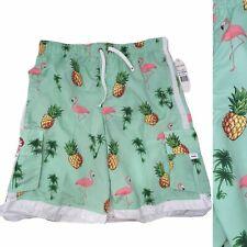 Ingear Men's L NWT Elastic Waist Pineapple Flamingo Print Swim Trunks Mint Green