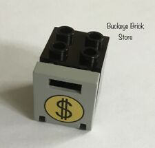 Lego BLACK 2x2x2 Container with GRAY Lid Round Money Bag Pattern 4559 Train