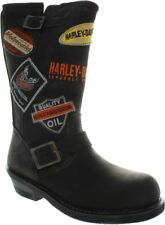 Harley Davidson Brooklyn Patch Womens Leather Biker Motor Boots Dusted Black