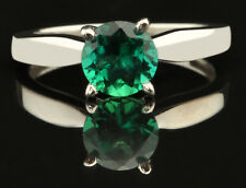 925 Sterling Silver Natural Zambian Emerald 1.10Ct Round Shape Solitaire Ring
