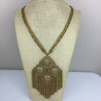 "Vintage LARGE Boho Pendant Gold Tone Multi Strand Chain Statement Necklace 26"""