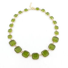 Gorgeous Gold-tone Green Square Stone Chain Statement Necklace