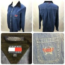 Tommy Hilfiger Vintage Womens Sz 6 Denim Chambray Shirt Velvet Collar 90s Blouse