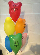 15x Rainbow Retro Cat & Mouse Latex Balloons (Helium Quality)