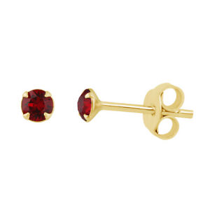 Gold Plated Sterling Silver & 3mm CZ Crystal Claw Set Stud Earrings