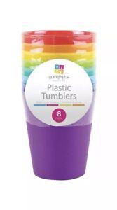 8x Plastic Childrens Kids Tumblers Beach BBQ Picnic Party Cups Drinks 10cm UK