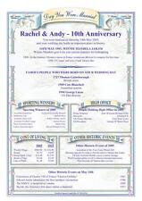 Wedding Anniversary History Certificate Personalised Keepsake 10th or Any