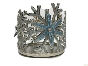Bath Body Works SILVER BLUE SNOWFLAKE Winter Candle Holder Sleeve 14.5 oz 3-Wick