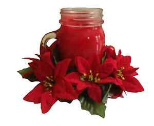 """Microfiber Red Poinsettia 6.5"""" Candle Ring 3.5"""" Opening Jar (Flower Decor Only)"""