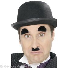 Charlie Chaplin Tash Eyebrows & Bowler Hat Costume Set Silent Movie Star Outfit