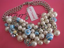 BETSEY JOHNSON ANCHORS AWAY FAUX PEARL ANCHOR SHAKY STATEMENT NECKLACE~NWT