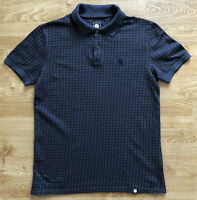 Pretty Green Mens Blue Brwon Houndstooth Short Sleeved Polo Shirt XS Polycotton