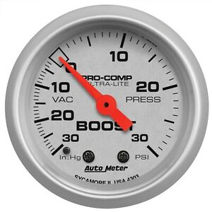 "SALE AutoMeter GAUGE VAC/BOOST 2 1/16"" 30INHG-30PSI MECH ULTRA-LITE"