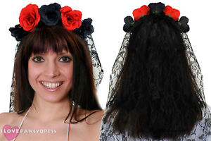 LADIES ROSE HEADBAND WITH BLACK VEIL DAY OF THE DEAD BRIDE FANCY DRESS COSTUME