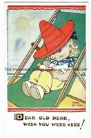Artist Mabel Lucie Attwell 'Dear Old Dear Wish You Were' Vintage Postcard 9.2