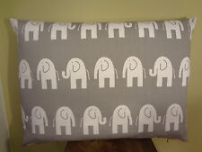 SALE Decorative Pillow Cover for Kids Elephants Pattern White Gray Toss Pillow