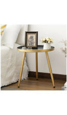 Round Side Table, Metal End Table, Nightstand/Small Tables for Living Room