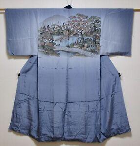 JAPANESE KIMONO SILKMENS JUBAN / PINE & MAPLE TREE / MOUNTAIN & POND / BLUE