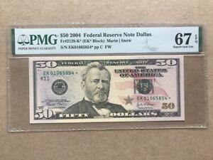 2004 $50 Federal Reserve Note Fr#2128-K* PMG67EPQ Star Note Superb Gem Unc
