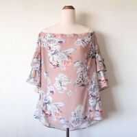 CITY CHIC Dusty Pink Paper Floral Off Shoulder Ruffle Top Blouse Size S 16 Plus