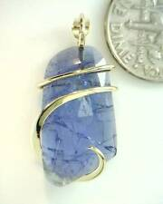 12.34ct Rose Cut Faceted Tanzanite Mounted in 14kt Gold Pendant