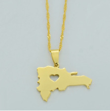 The Dominican Republic Map Country 18K Gold Love Plated Chain Pendant Necklace
