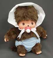 Brand New Sekiguchi Baby Monchhichi Bebichhichi Plush Doll Blue Bonnet S H:14cm