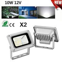 2X 10W LED Flood Light Spotlight Cool White Shop Street Security Fixtures DC 12V