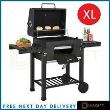 XL BBQ Charcoal Grill Trolley Wheels Garden Smoker Shelf Side Steel Black