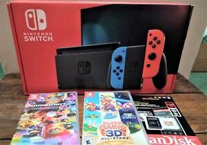 Nintendo Switch Console Bundle New V2 - Neon Red/Blue Joy-Con 2 Mario games SD