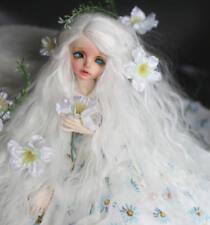 "7-8"" 1/4 BJD Long Snow White Curly Wavy Wig LUTS Doll DOD Soom DZ Hair HUAL-M"
