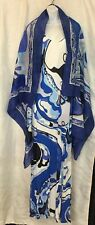 emilio pucci dress Long Blue Print Sleeveless Beaded Straps W/Scarf Size 8 F-38