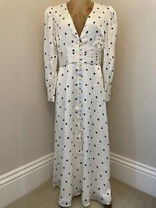 Olivia Rubin Valentina Ivory Polka Dot 100% Silk Midi Dress Size 10 BNWT RRP£380