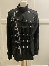 100% Cotton Living Dead Souls Black Jacket Ladies Size M / 12-14 Uk - Punk Goth