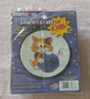 """DIMENSIONS LEARN-A-CRAFT Counted Cross Stitch Kit with 3"""" HOOP CUTE KITTY #73038"""