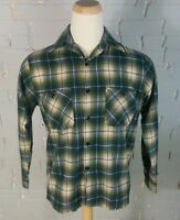 Vintage Deadstock NOS Sears Shadow Plaid Flannel Work Shirt M Minty 60s 70s New