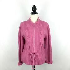 Cambridge Dry Goods women's sz Xl sweater - pink wool angora zipper cardigan tie