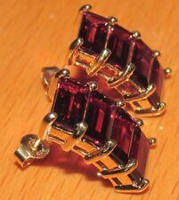 Secondhand 9ct Oro Amarillo Multi granate pendientes (para Perforado orejas)