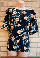 PRIMARK BLACK FLORAL SHORT SLEEVE SILKY FEEL BLOUSE T SHIRT TUNIC TOP 18 20