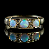 ANTIQUE EDWARDIAN OPAL DIAMOND RING 18CT GOLD DATED 1901